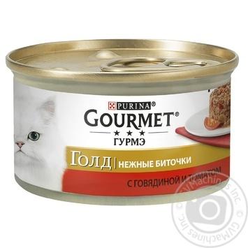 Корм GOURMET Gold Нежные биточки С говядиной и томатами для взрослых кошек 85г - купить, цены на Метро - фото 1