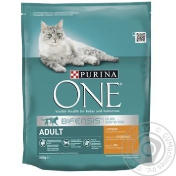Корм сухой Purina ONE Adult С курицей и цельными злаками для взрослых котов 800г - купить, цены на Ашан - фото 1