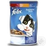 Корм для кошек Felix Fantastic Duo с говядиной и птицей в желе 100г