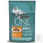 Корм Purina One Adult з куркою і зеленою квасолею в соусі для котів 85г