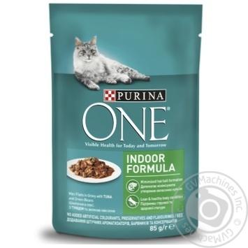 Корм для котів Purina One Indoor Formula Тунець і зелена квасоля в соусі 85г - купити, ціни на ЕКО Маркет - фото 1
