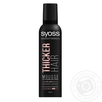 Пена-мусс для волос Syoss Thicker Hair с эффектом утолщения фиксация 4 250мл - купить, цены на Novus - фото 1