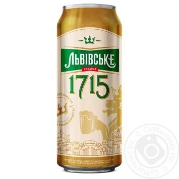 Пиво Львовское 1715 светлое пастеризованное ж/б 4,7% 0,5л