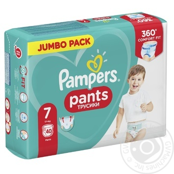 Pampers diapers panties Size 7 17+ kg 40pcs - buy, prices for Novus - image 1