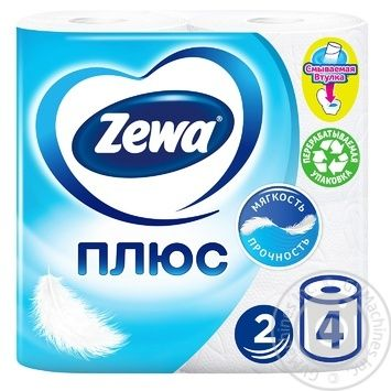 Zewa Plus White 2-Ply Toilet Paper 4pcs - buy, prices for Novus - image 1