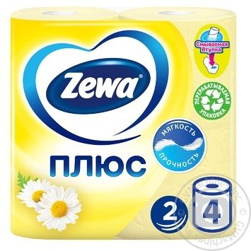 Zewa Plus with camomile aroma yellow 2-ply toilet paper 4 pieces - buy, prices for EKO Market - photo 1