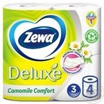 Папір туалетний Zewa Deluxe Camomile Comfort білий 3-х шаровий 4шт