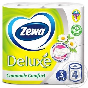 Туалетная бумага Zewa Deluxe Camomile Comfort белая 3-х слойная 4шт