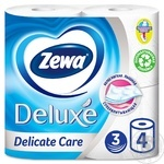 Zewa Deluxe Delicate Care 3-ply white toilet paper 4pcs - buy, prices for Novus - image 1