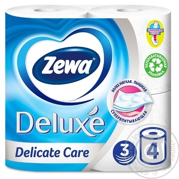 Zewa Deluxe Delicate Care 3-ply white toilet paper 4pcs - buy, prices for MegaMarket - image 3