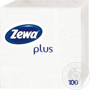 Салфетки Zewa Plus белые столовые бумажные 100шт