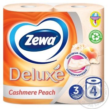 Туалетная бумага Zewa Deluxe Cashmere Peach 3-х слойный 4шт - купить, цены на Ашан - фото 1