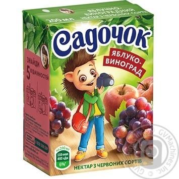Нектар Садочок яблочно-виноградный из красных сортов 0,2л - купить, цены на Novus - фото 1