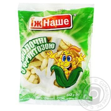 Палички кукурудзяні Їж Наше молочні з фруктозою 60г - купити, ціни на МегаМаркет - фото 1