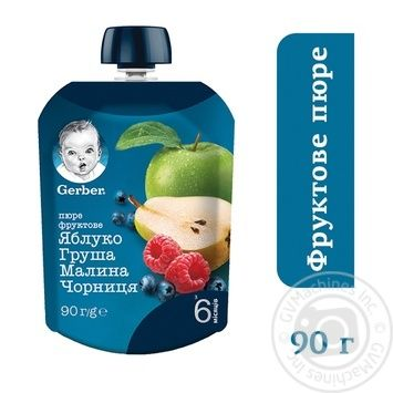 Gerber for babies pear and raspberries blueberries fruit puree 90g - buy, prices for Auchan - photo 2