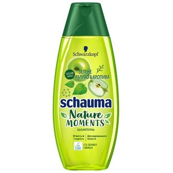 Шампунь Schauma Nature Moments Зеленое яблоко и кропива для нормальных волос и ежедневного использования 400мл - купить, цены на Ашан - фото 1
