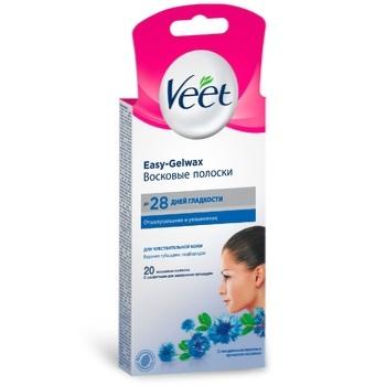 Полоски восковые Veet Easy-Gelwax для эпиляции лица 14шт - купить, цены на Метро - фото 2