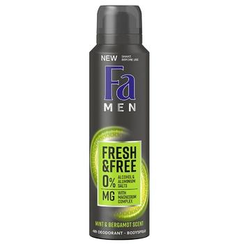 Дезодорант-спрей Fa Men Fresh&Free без спирта Аромат мята-бергамот 150мл