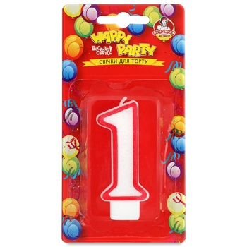 Pomichnica Happy Party Candle for cake Number One - buy, prices for Metro - image 1