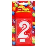 Pomichnica Happy Party Candle for cake Number Two