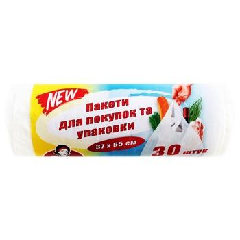 Пакеты для покупок и упаковки Помічниця 37х55см 30шт - купить, цены на Novus - фото 1