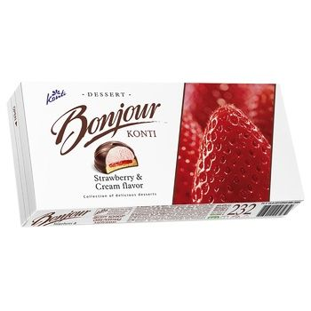 Десерт Конти Бонжур клубника со сливками 232г - купить, цены на Ашан - фото 1