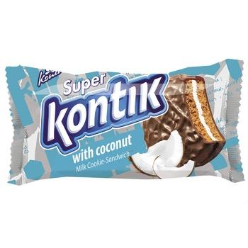 Печенье-Сэндвич Супер Контик с кокосом 100г - купить, цены на Фуршет - фото 1