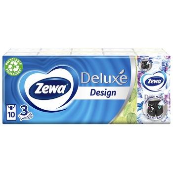 Платочки носовые Zewa Deluxe бумажные 3-х слойные 10шт