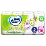 Туалетная бумага Zewa Deluxe Ромашка белая трехслойная 16шт