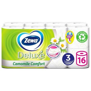 Туалетная бумага Zewa Deluxe Ромашка белая трехслойная 16шт - купить, цены на Ашан - фото 1