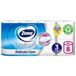 Туалетная бумага Zewa Deluxe Delicate Care белая 3-х слойная 8шт - купить, цены на Метро - фото 3