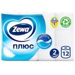 Туалетная бумага Zewa Плюс белая двухслойная 12шт