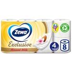 Туалетний папір Zewa Exclusive Almond Milk білий 4-х шаровий 8 рулонів
