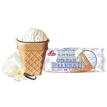Мороженое Ласунка Стакан великан пломбир в вафельном стакане с кондитерской глазурью 85г