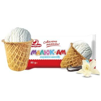 Мороженое Ласунка Малюк-Ам пломбир в сахарном стакане 80г - купить, цены на Фуршет - фото 1