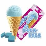 Мороженое пломбир Ласунка Люба-Буба со вкусом жевательной резинки в вафельном рожке 70г