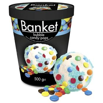 Мороженое Ласунка Banket Bubble Candy-Pops пломбир со вкусом жевательной резинки с драже 500г