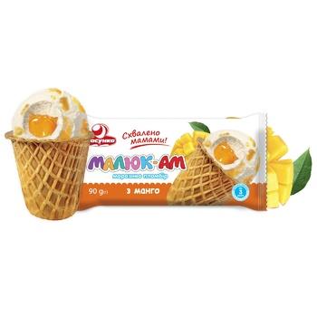 Мороженое Лакомка Малыш-АМ с манго в вафельном стакане 90г