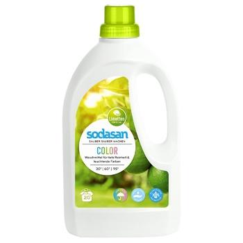 Средство Sodasan для стирки цветных вещей со смягчителем воды 1.5л - купить, цены на Ашан - фото 1