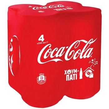 Напиток газированный Coca-Cola ж/б 4х0,33л - купить, цены на Ашан - фото 1
