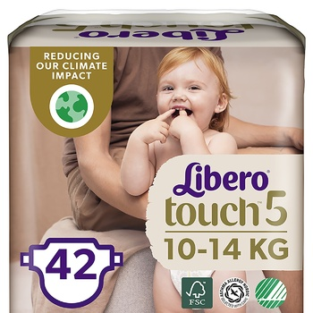 Підгузники Libero Touch 5 для дітей 10-14кг 42шт - купити, ціни на МегаМаркет - фото 1