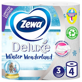 Zewa Deluxe Delicate Care 3-ply white toilet paper 4pcs - buy, prices for MegaMarket - image 1