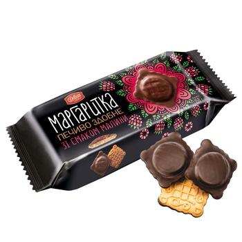 Печенье Делиция Маргаритка сдобное в темной глазури со вкусом малины 150г - купить, цены на СитиМаркет - фото 1