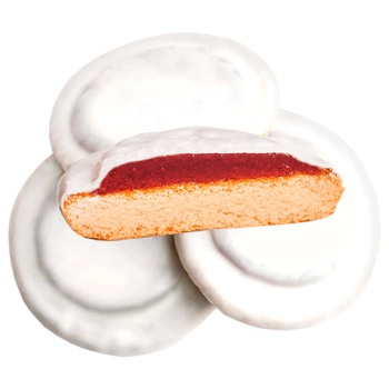 Delicia Butter Whipped Cookies in Milk Glaze with Cherry Flavor
