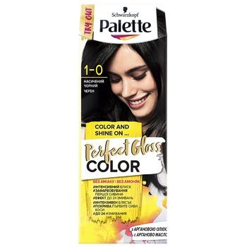 Краска для волос с аргановым маслом Palette Perfect Gloss Color 1-0 Насыщенный черный 70мл