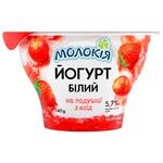 Йогурт Молокія Белый Клубника на подушке из ягод 5,7% 140г