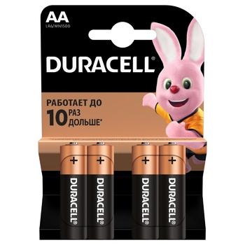 Батарейки Duracell АА щелочные 4шт - купить, цены на Ашан - фото 1