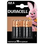 Лужні батарейки Duracell AA, 6 шт. в упаковці