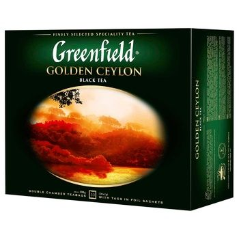 Чай Greenfield Golden Ceylon 50пак - купить, цены на Ашан - фото 1