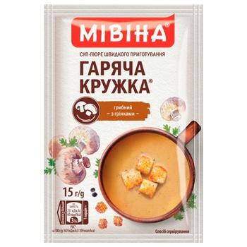 Суп-пюре МІВІНА® Гаряча Кружка Грибний з грінками 15г - купити, ціни на ЕКО Маркет - фото 1